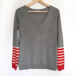 Gap sequin red white gray striped v-neck sweater